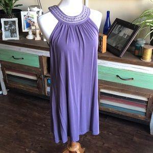 LNC Flowy Purple Embroidered Dress